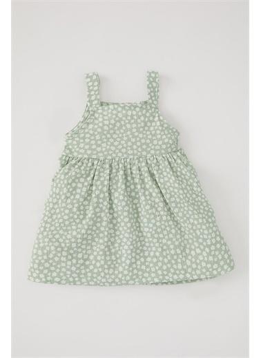 DeFacto Kız Bebek Çiçek Desenli Askılı Dokulu Elbise Turkuaz